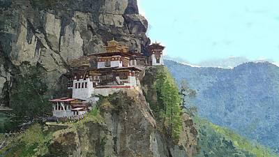 Bhutan Painting - Tigers Nest Monastery by Maciek Froncisz