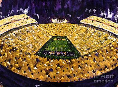 Louisiana State University Painting - Tigers Saturday Night by Joy Petty