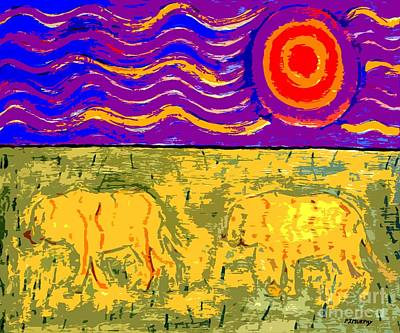 Tiger Skin Painting - Tigers Under A Burning Sun by Patrick J Murphy