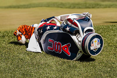 Tiger Woods Photograph - Tigers Woods Golf Bag by Mike Burgquist
