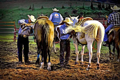Team Roping Photograph - Tightening Up by Kenny Francis