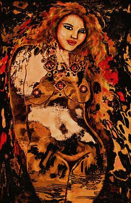 Long Necklace Mixed Media - Tigress by Natalie Holland