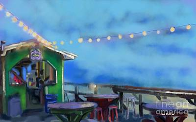 Summer Fun Painting - Tiki Bar by Carrie Joy Byrnes