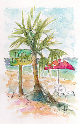 Raw Sienna Painting - Tiki Beach Grand Cayman by Pat Katz