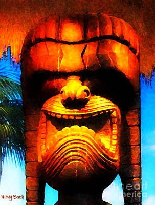 Digital Art - Tiki Dude Good Luck Charm by Mindy Bench