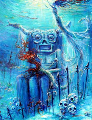 Fish Underwater Painting - Tiki Man IIi by Heather Calderon