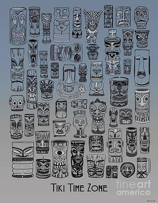 Digital Art - Tiki Nighttime Zone by Megan Dirsa-DuBois