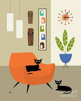Eames Digital Art - Tikis On The Wall by Donna Mibus