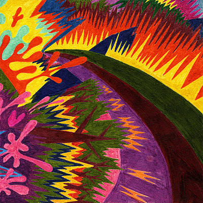 Fruit Tree Art Giclee Painting - Tile 47 - Sunset Over Mountains by Sean Corcoran