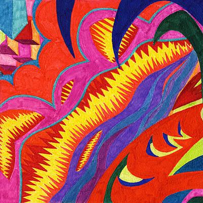 Sea Glass Drawing - Tile 53 - Eruption At Mauna Loa by Sean Corcoran