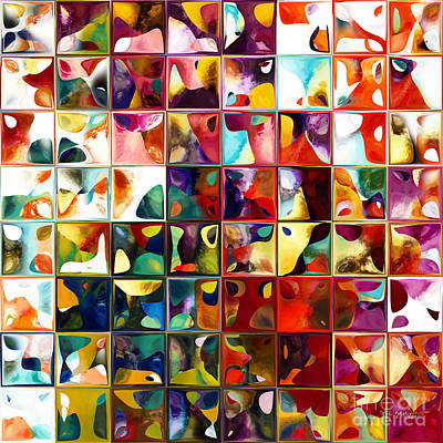 Blocks Panel Painting - Tile Art 11 2013. Modern Mosaic Tile Art Painting by Mark Lawrence