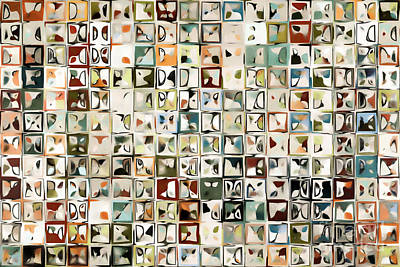 Beige Glass Painting - Tile Art 3 2013 Modern Mosaic Tile Art Painting by Mark Lawrence
