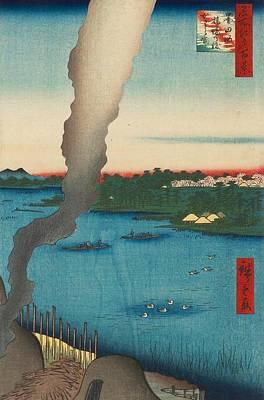 Japan Painting - Tile Kilns And Hashiba Ferry by Utagawa Hiroshige