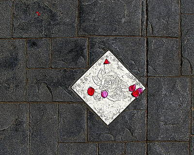 Digital Art - Tile With Rose Petals by Ben Freeman