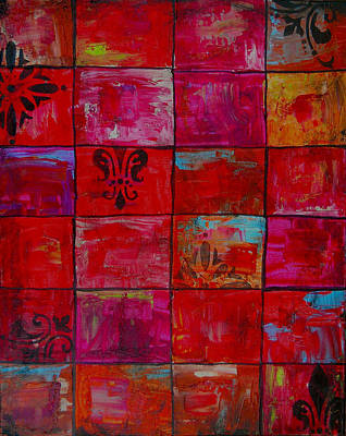 Tiles Abstract Art Painting Original by Laura Carter