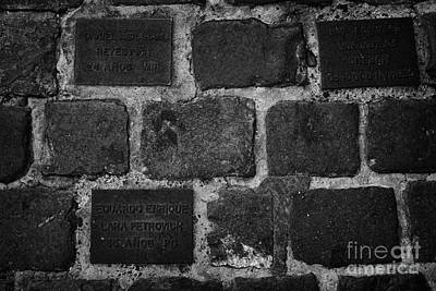 tiles in the footpath to those killed or disappeared outside former prison and torture house in calle londres barrio paris londres Santiago Chile Art Print