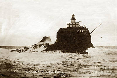 Photograph - Tillamook Rock Lighthouse Oregon Circa 1915 by California Views Mr Pat Hathaway Archives