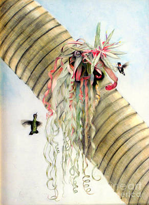 Painting - Tillandsia With Hummingbirds by Penrith Goff