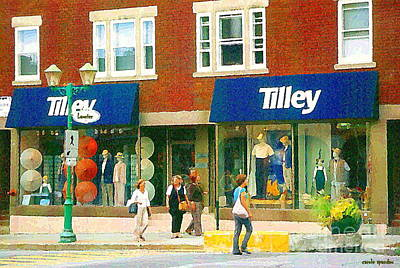 Painting - Tilley Hat Shop Safari Sports Wear Fashions Paintings Of Montreal Rue Laurier Street Scene C Spandau by Carole Spandau