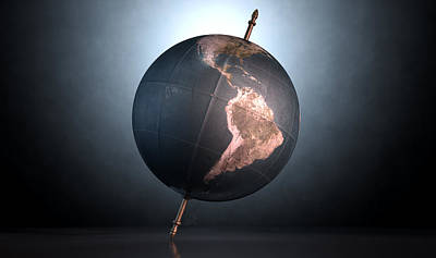 Tilted World Globe Art Print
