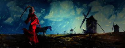 Don Quixote Digital Art - Tilting At Windmills by Galen Valle