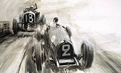 Car Drawing - Tim Birkin Driving At Brooklands by Graham Coton