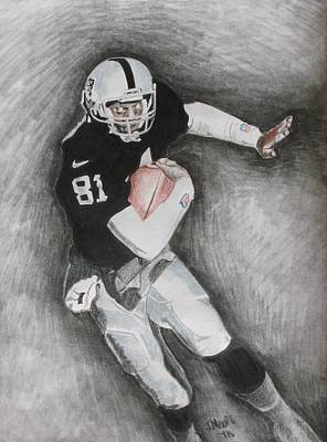Raiders Drawing - Tim Brown by Jeremy Moore