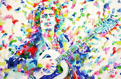 Tim Painting - Tim Buckley Playing - Watercolor Portrait by Fabrizio Cassetta