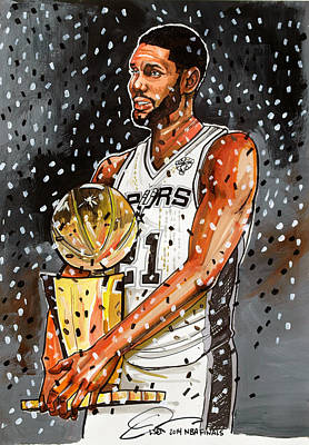 Dave Drawing - Tim Duncan Nba Champion by Dave Olsen
