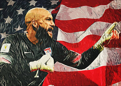 Poster Digital Art - Tim Howard by Taylan Apukovska