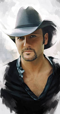 Tim Painting - Tim Mcgraw Artwork by Sheraz A
