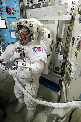 Spacesuit Photograph - Tim Peake Preparing For Spacewalk by Nasa