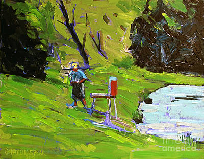 Tim The Plein Air Painter After Monet Art Print by Charlie Spear