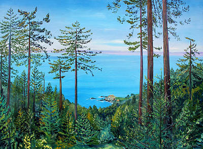 Art Print featuring the painting Timber Cove On A Still Summer Day by Asha Carolyn Young