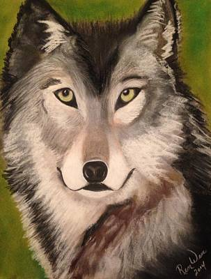 Painting - Timber Wolf In Summer by Renee Michelle Wenker