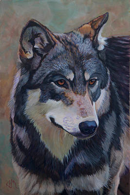 Canadian Timber Wolf Painting - Timber Wolf _motomo by Antonio Marchese