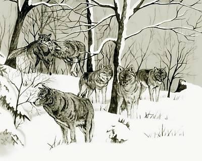 Timber Wolf Pack Art Print