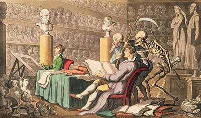 Sketching Drawing - Time And Death Their Thoughts Imparton by Thomas Rowlandson