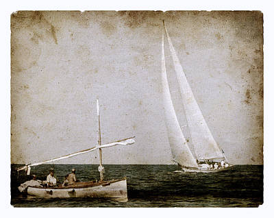 Race Photograph - Time At Sea As Old Times - A Vintage Mediterranean Boat Called Llaud And A Modern Sailboat Salutes by Pedro Cardona Llambias
