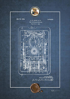 Digital Art - Time Controlled Mechanism Vintage Patent Blueprint by Serge Averbukh