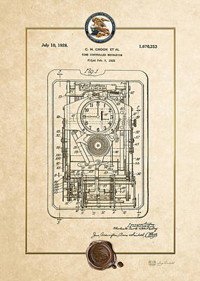 Digital Art - Time Controlled Mechanism Vintage Patent Document by Serge Averbukh