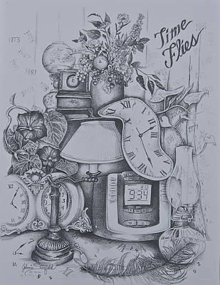 Still Life Drawings - Time Flies by Johnnie Stanfield