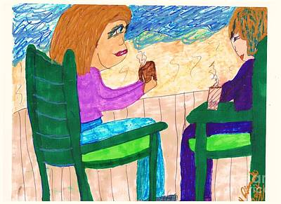Conversation Mixed Media - Time For A Break by Elinor Rakowski