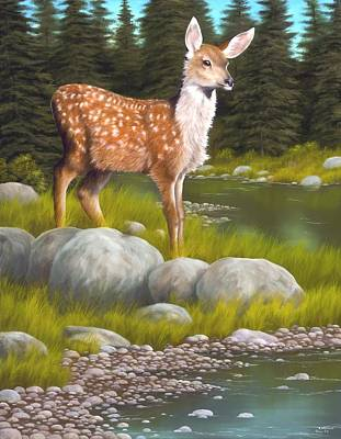 Fawns Wall Art - Painting - Time For A Drink by Rick Bainbridge