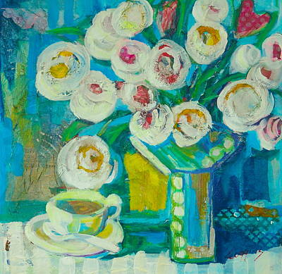 Rose. Collage Painting - Time For Coffee by Sue Scoggins