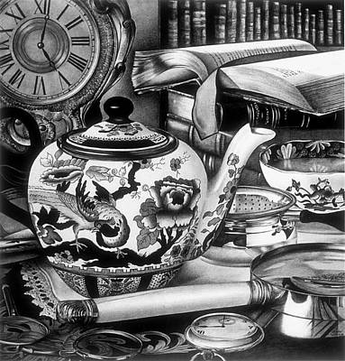 Teapot Drawing - Time For Tea by Jerry Winick