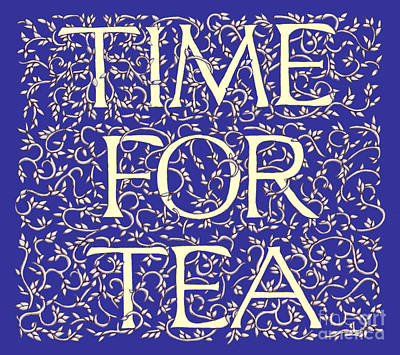 Art Print featuring the drawing Time For Tea Royal Blue by Donna Huntriss