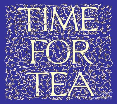 Time For Tea Royal Blue Art Print
