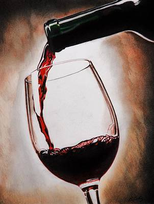 Glass Drawing - Time For Wine by Brian Broadway