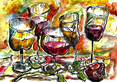Time For Wine Tasting Art Print by Terry Banderas